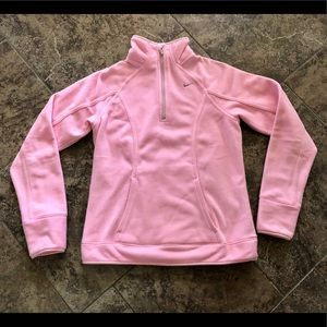 NIKE FIT THERMA PINK FLEECE PULLOVER 1/4 ZIPPER